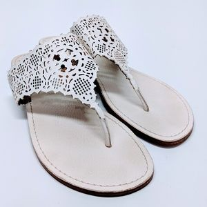 Tory Burch Ivory Roselle Thong Sandals sz 10.5